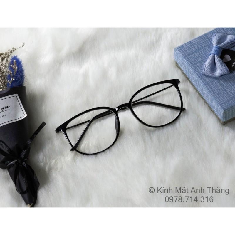 Giá bán (872) Gọng kính dáng bầu càng kim loại không gỉ viền mắt nhựa