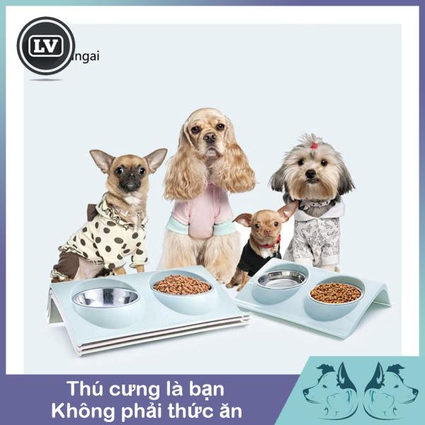 Khay đựng thức ăn cho thú cưng bằng thép không gỉ Phụ kiện Long Vũ