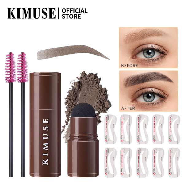 KIMUSE One Step Eyebrow Stamp Shaping Kit - Brow Powder Stamp Makeup with 10 Reusable Eyebrow Stencils Eyebrow Razor and Eyebrow Pen Brushes, Long Lasting Buildable Eyebrow Makeup cao cấp
