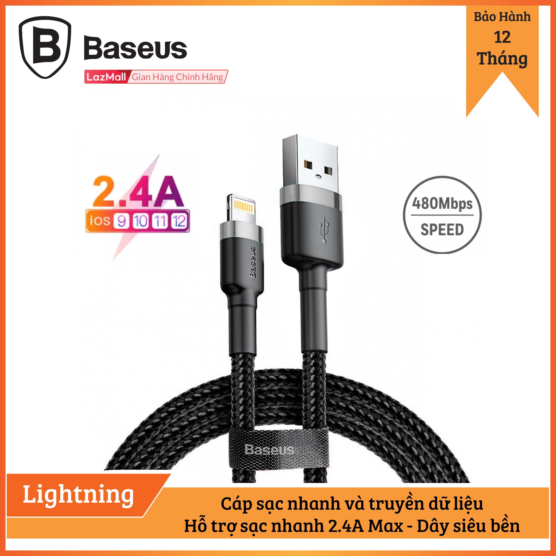 Cáp sạc Baseus sạc nhanh và truyền dữ liệu tốc độ cao Cafule Lightning cho iPhone/ iPad 2.4A, Sạc nhanh, Siêu bền