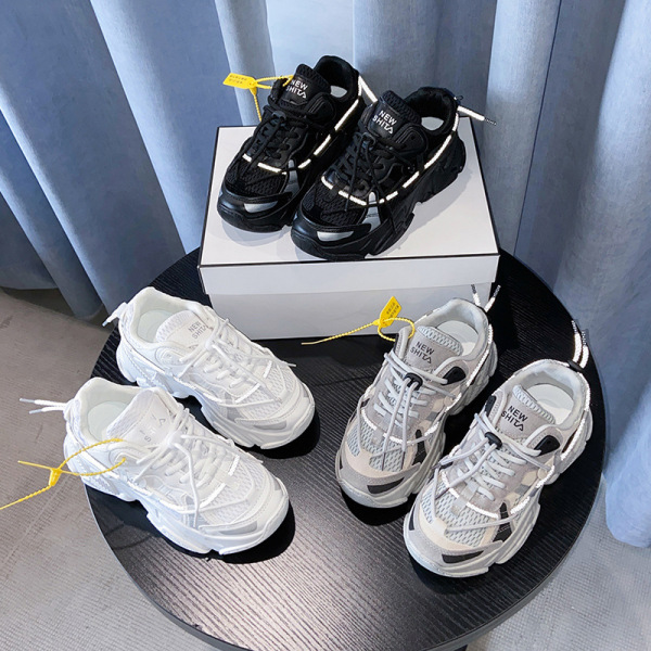 Giày thể thao, giày sneaker, sneaker nữ độn đế viền thoáng khí dây phản quang đi vào rất thoáng không ra mồ hôi, đế chống trượt phù hợp thể thao leo núi và đi chơi