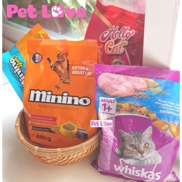 COMBO 4 loại thức ăn hạt cho mèo (Whiskas, Minino, Minino Yum, Hello Cat)
