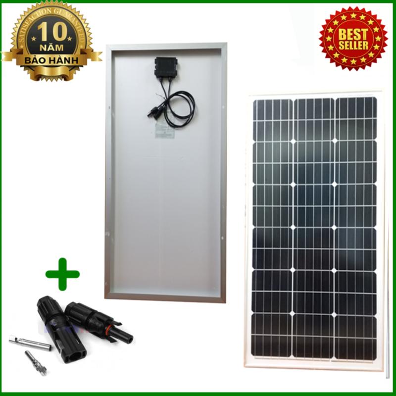 Tấm Pin năng lượng mặt trời đơn tinh thể Mono 80W tặng kèm kẹp bình acquy