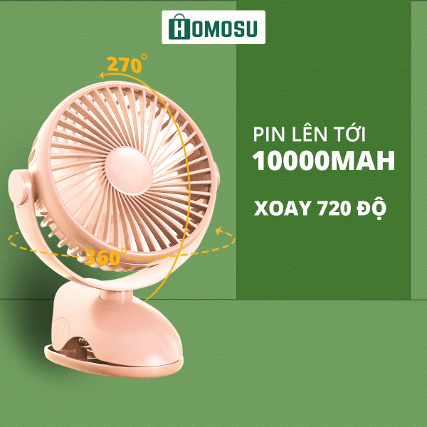 Bảng giá Quạt Mini Kẹp/Để Bàn 100000mah Chạy Liên Tục 72h 4 Tốc Độ Gió Xoay 720 độ Sạc USB Tiện Ích DFS09 Phong Vũ