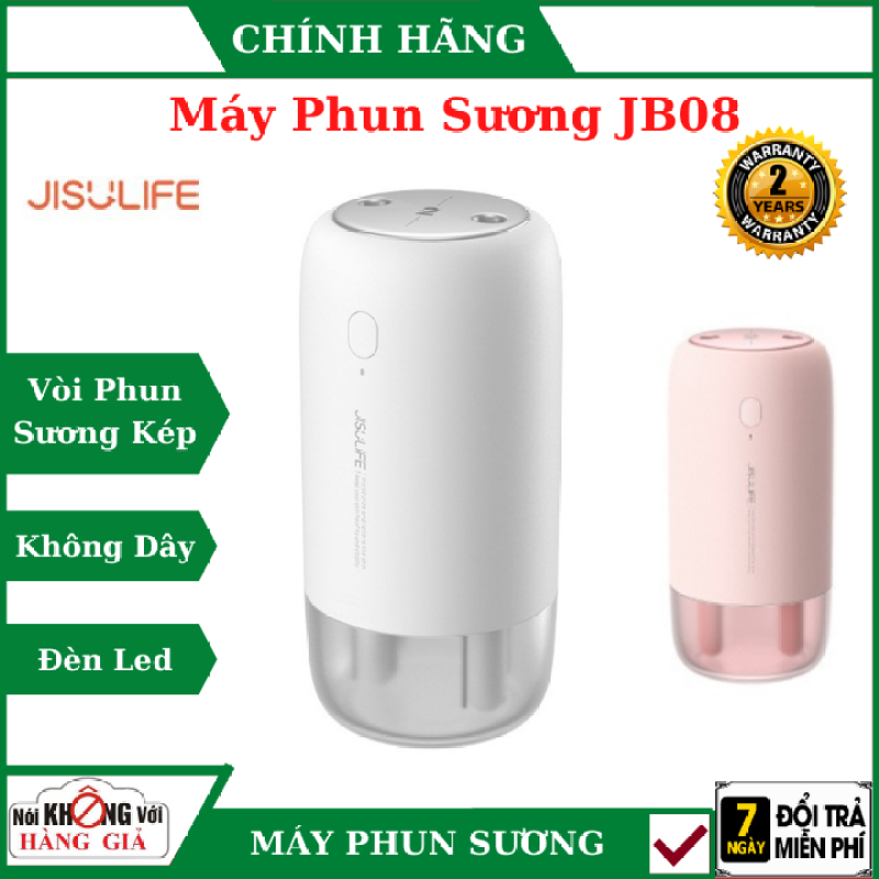 Máy phun sương tạo ẩm Jisulife JB08 - Máy tạo ẩm không khí và giữ ẩm da, dung tích 500ml - Hai chế độ phun đơn và kép – Máy tạo ẩm không gian thư giãn kiêm đèn ngủ LED để bàn(trắng +hồng) , máy phun sương mini ,
