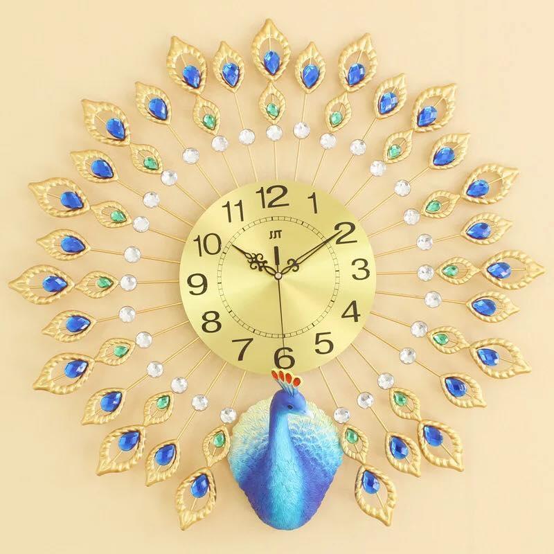 Đồng hồ treo tường,đồng hồ trang trí , đồng hồ chim công Khổng tước khoe sắc Dcr1765 (Vàng) , xanh - Quà tặng tân giá đẳng cấp, nhà hàng khách sạn phòng karaoke(công xòe)