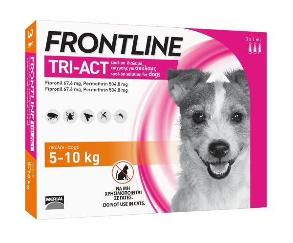 FRONTLINE TRIACT® size S Phòng ve, Rận, Bọ chét, Ruồi, Muỗi cho chó từ 5 - 10kg (1ml/ống x 3 ống/hộp)