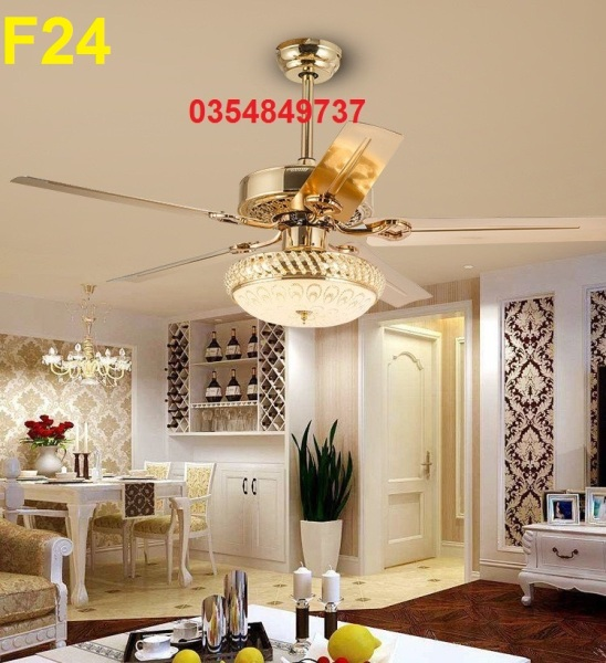 F24 [Thien Ca Shop] Quạt trần cánh thép không gỉ mạ vàng, đèn bầu thủy tinh - động cơ lõi đồng 100% - Hàng Cao Cấp