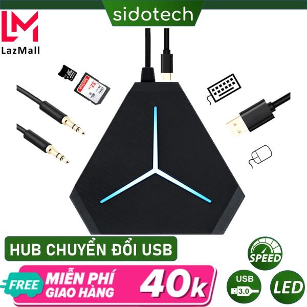 Bảng giá Bộ chia cổng HUB USB SIDOTECH mở rộng kết nối đa năng 6 cổng USB tốc độ cao, cổng Audio, đầu đọc thẻ nhớ, đèn LED kết nối đa cổng cho chuột không dây, bàn phím không dây, tai nghe 3.5mm, thiết bị mở rộng USB cho Laptop PC Phong V�