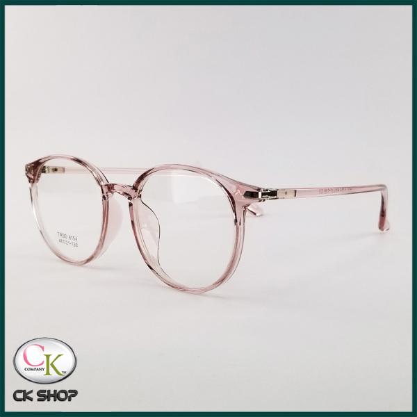 Giá bán Gọng kính cận nữ/nam mắt tròn nhựa màu đen, hồng, xám 8154. Tròng kính giả cận 0 độ chống ánh sáng xanh, chống tia UV