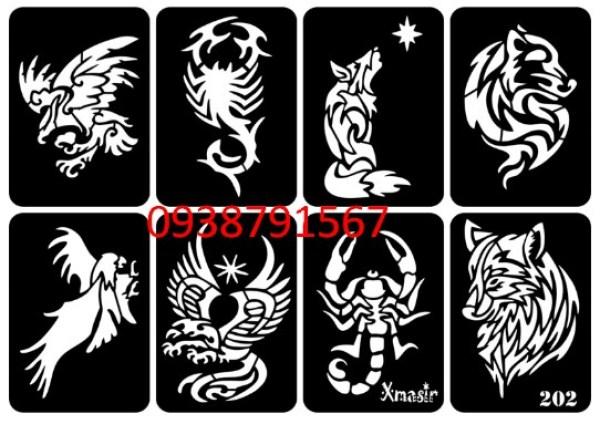 Khuôn vẽ hình xăm tattoo , hình xăm giả, hình xăm henna (1 tờ A4 có nhiều mẫu)