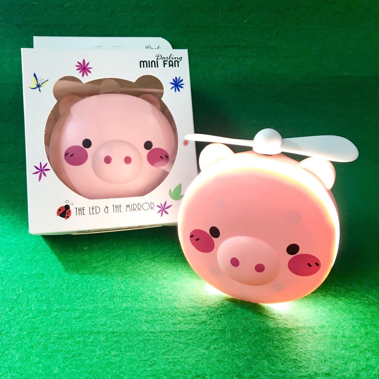 Quạt mini cầm tay, có gương và đèn led selfie, hình heo màu hồng siêu dễ thương