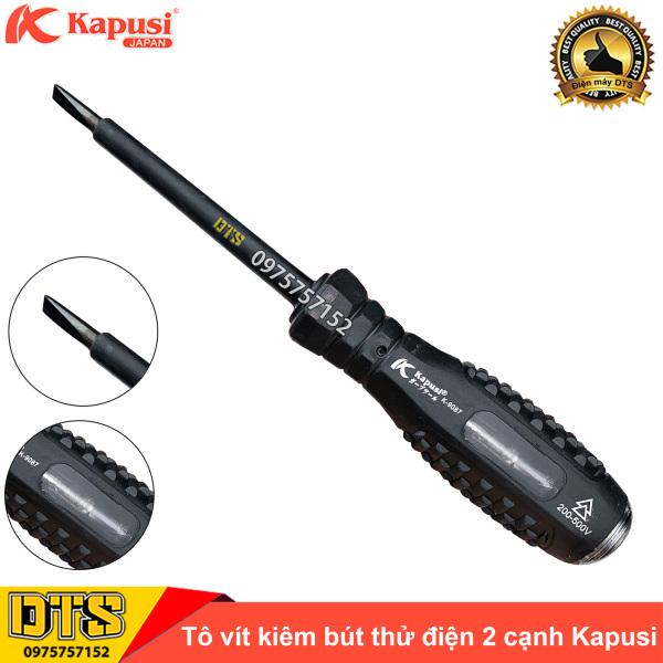 Tua vít cách điện 2 cạnh kiêm bút thử điện chống va đập Kapusi Japan 200-500V K-9087 4x160mm, tô vít dẹt kiểm tra dòng điện, tuốc nơ vít đa năng 2 trong 1 vặn vít và thử điện