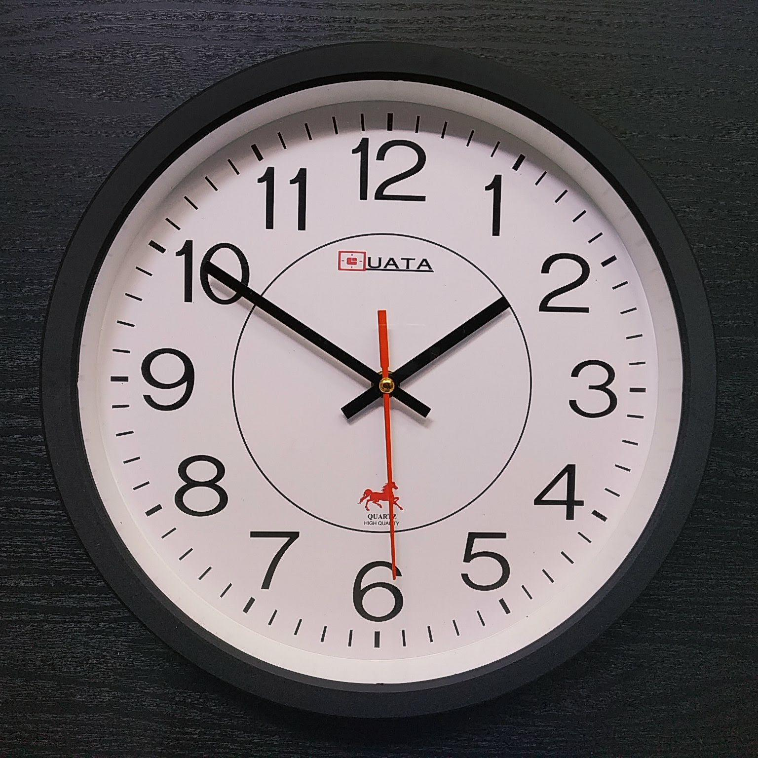 Nơi bán Đồng hồ treo tường cao cấp tròn đen 30cm - Thiết kế hiện đại ôm sát tường