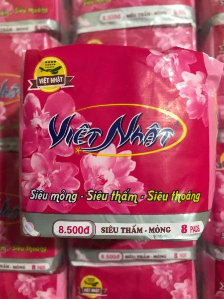 Combo 10 gói Băng vệ sinh Việt Nhật có cánh Siêu mỏng, Siêu thấm, Siêu thoáng 8 Miếng/1 gói