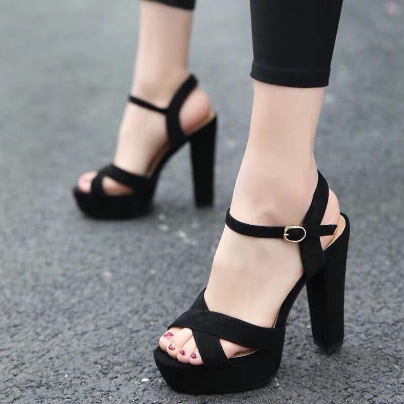 Giày cao gót Sandal đúp 12cm bản chéo giá rẻ