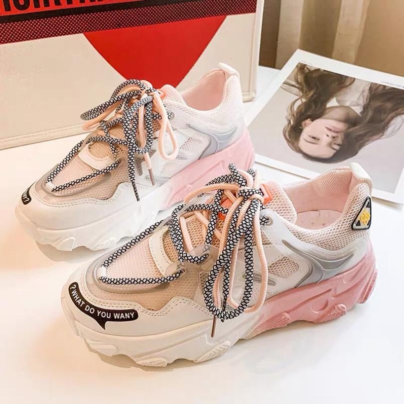 Giày thể thao nữ Ulzzang đế độn cao 5cm gót sắc màu siêu hot 2020 giá rẻ