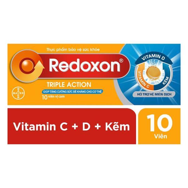 Viên sủi bổ sung Vitamin C, D, và Kẽm Redoxon Triple Action 10 viên giá rẻ