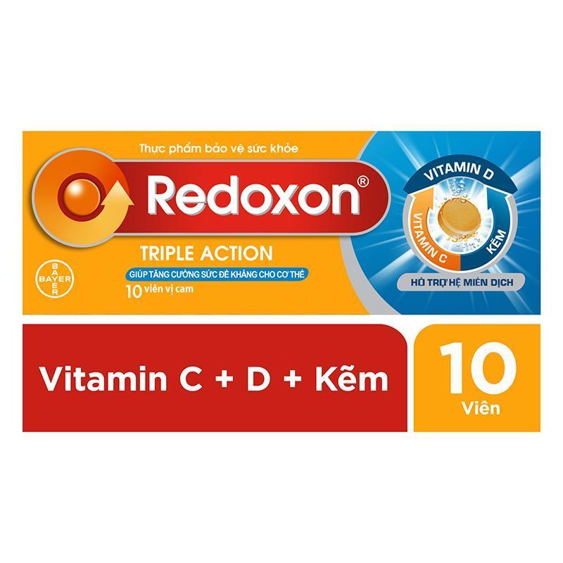 Viên sủi bổ sung Vitamin C, D, và Kẽm Redoxon Triple Action 10 viên cao cấp