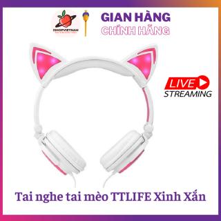 Tai nghe over ear hình Tai Mèo - TTLIFE Xinh Xắn - Có Đèn Led Siêu Cute thumbnail