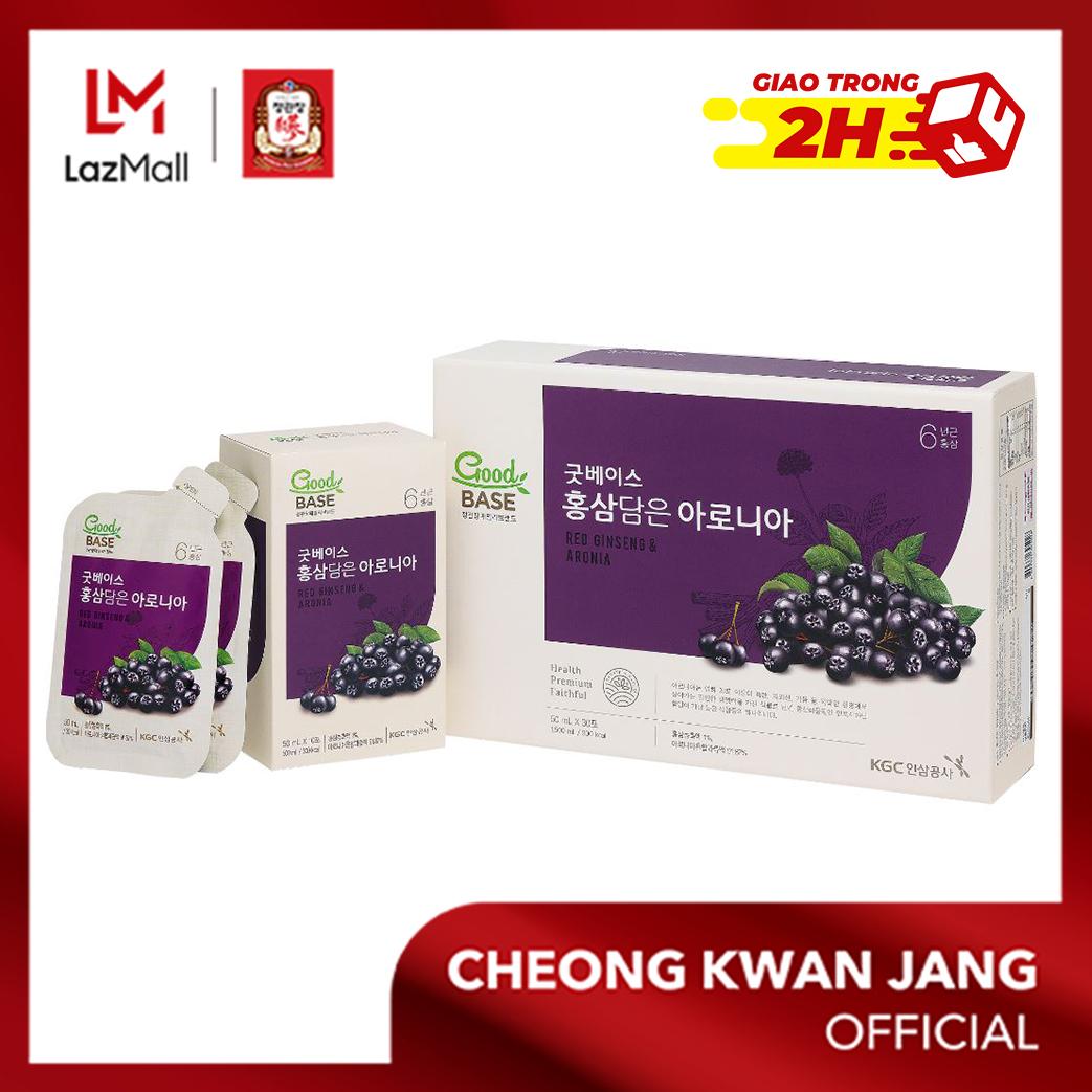 Nước Hồng Sâm Goodbase Aronia KGC Cheong Kwan Jang 50ml x 30 gói - Tăng đề kháng, chống mệt mỏi, làm đẹp da