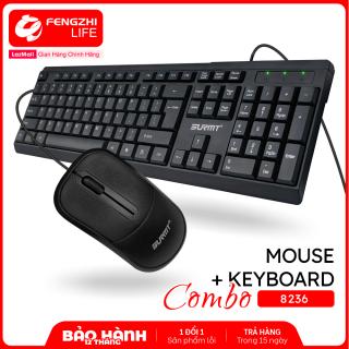 Bàn phím, chuột, bộ bàn phím máy tính và chuột có dây độ phân giải 1200DPI, bàn phím giả cơ bấm nhẹ nhàng, combo bàn phím và chuột có dây tương thích nhiều thiết bị phù hợp làm việc, chơi game Bảo hành 1 năm 8236 thumbnail