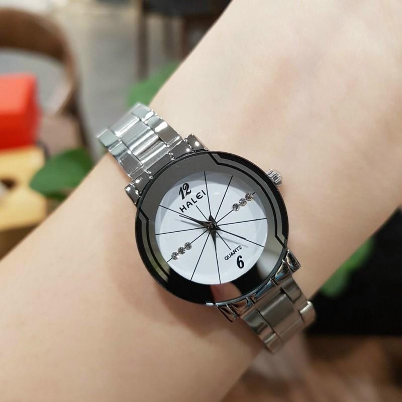 [HCM][Ở ĐÂU RẺ HƠN SHOP HOÀN TIỀN] Đồng hồ nữ HALEI siêu hot dây thép không gỉ cao cấp kính chống xước bảo hành 12 tháng