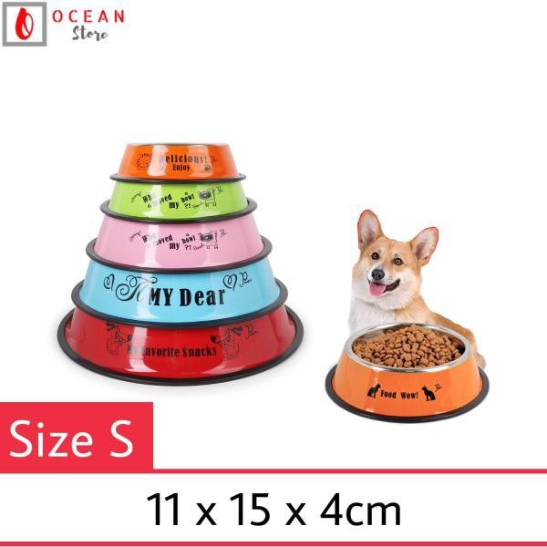 Bát ăn inox màu cho chó mèo - Bát ăn B03 Size S (11x15x4cm)
