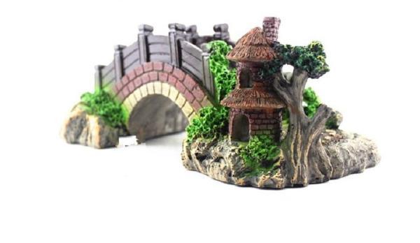 Trang trí bể cá - Cây cầu cảnh trang trí bể cá