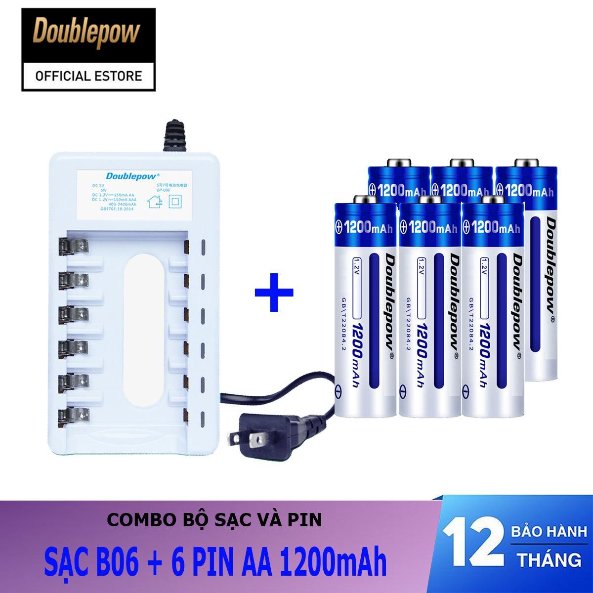 Giá Combo sạc pin 6 cổng B06 và 06 viên pin sạc AA 1200mAh - Doublepow