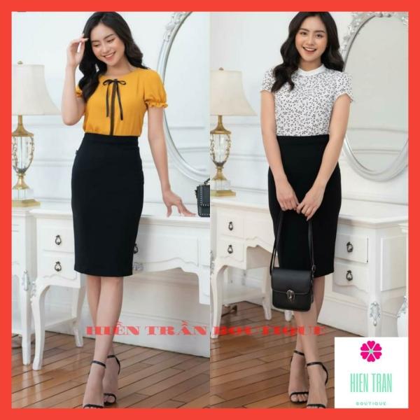 Chân váy bút chì công sở dài qua gối vải Umi Hàn dày dặn co giãn-Hiền Trần Boutique