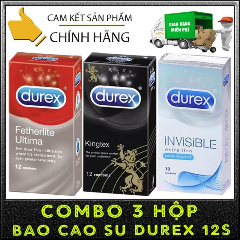 [Combo 3 hộp] Durex Fetherlite Ultima siêu mỏng + Kingtex size cỡ nhỏ + Invisible Extra Thin cực siêu mỏng - [Che tên sản phẩm]