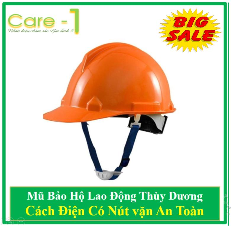 Mũ Bảo Hộ Thùy Dương Cách Điện 3kv Có Nút Vặn An Toàn - Tặng 02 khẩu Trang 3M Cao Cap