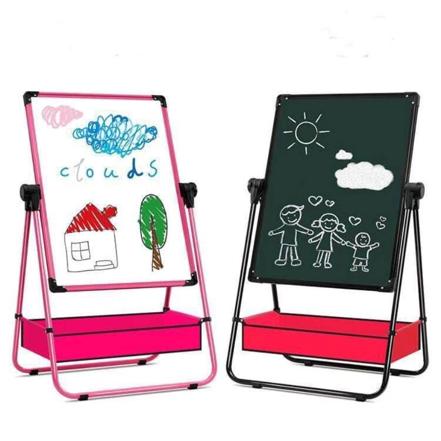 Bảng Vẽ Hai Mặt Cho Bé - Bảng Vẽ Hai Mặt Cho Bé - Bảng vẽ bút màu, phấn màu, có gắn nam châm, xoay 360 độ - Giúp bé phát triển khả năng tự học, sáng tạo