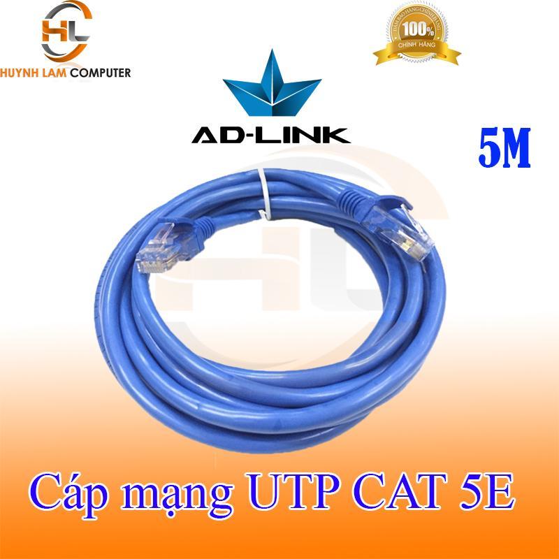Cáp mạng 5m - Cáp mạng UTP CAT 5E AD-Link 5m bấm máy 2 đầu màu xanh hãng phân phối