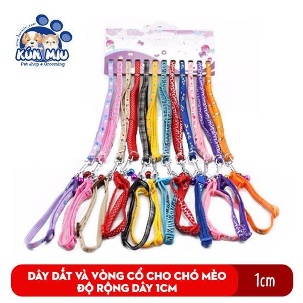Dây dắt và vòng cổ cho chó mèo Kún Miu độ rộng dây 1cm nhiều màu sắc