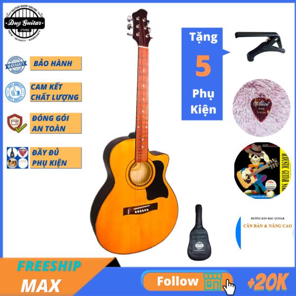 Đàn guitar acoustic giá rẻ tốt DVE70 ( màu vàng ) + tặng combo giáo trình Bao da, capo, phụ kiện Duy Guitar Store - Đàn ghitar dành cho người mới tập