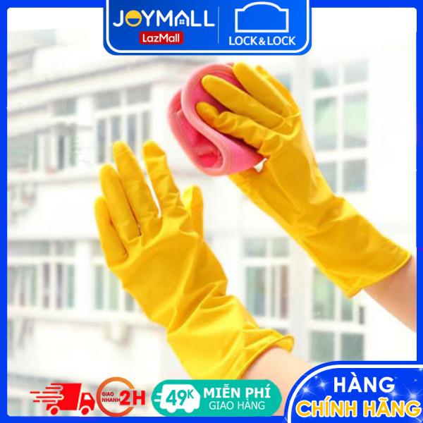 Găng tay rửa chén cao su tự nhiên Lock&Lock ETM803Y ETM804Y, Hàng chính hãng - JoyMall