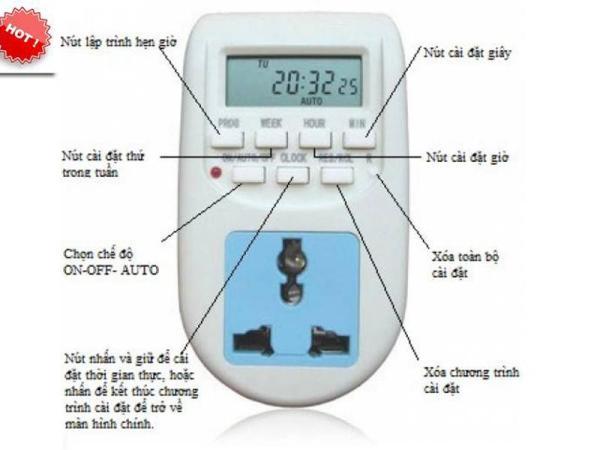 Ổ cắm hẹn giờ bật tắt tự động Digital Timer AL-06 220v/10A hàng cao cấp thuận tiện cho nhiều công việc