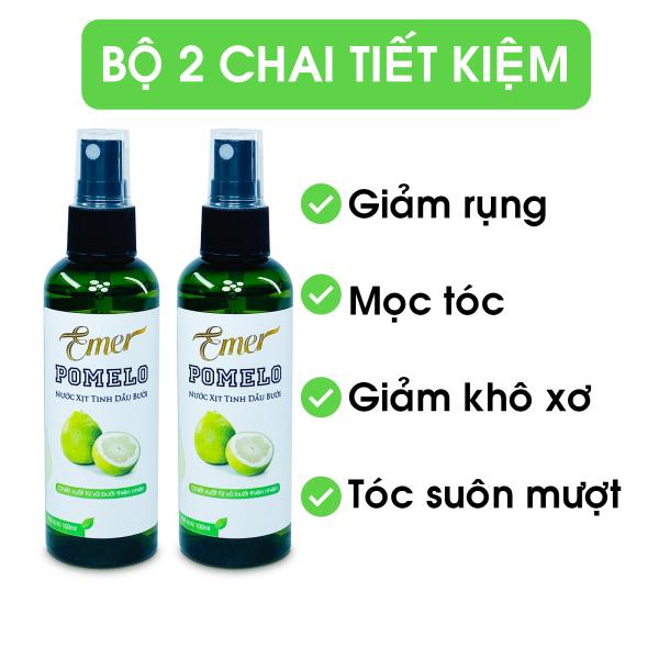 [HCM]Liệu trình 1 tháng 2 chai tinh dầu bưởi xịt mọc tóc Pomelo Emer (100ml x 2) giúp giảm rụng tóc kích mọc tóc nhanh gấp 2 đến 3 lần cho mái tóc dày và dài hơn giá rẻ