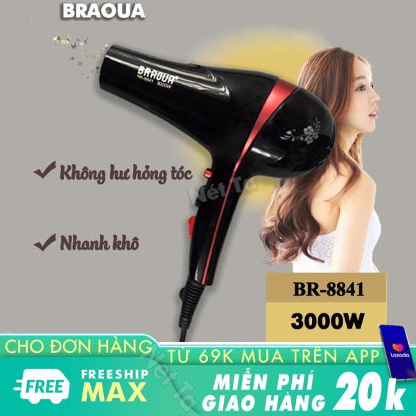 Máy sấy tóc BRAOUA-8841 chuyên nghiệp hai chiều nóng lạnh công suất 3000W mạnh mẽ với nhiều chế độ sấy linh hoạt thích hợp sử dụng gia đình và salon giá rẻ