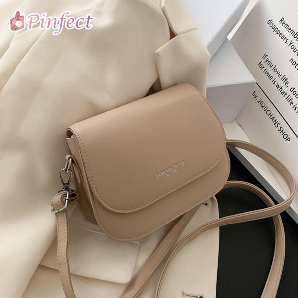 Túi xách bằng da màu trơn, có dây đeo chéo phong cách thanh lịch cho nữ Pinfect Official Store