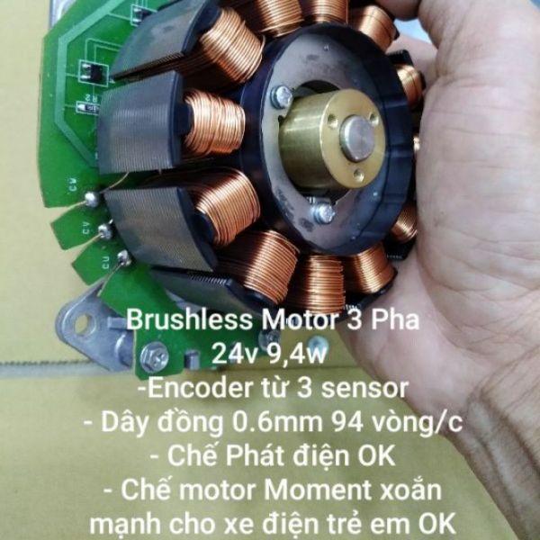 Động cơ không chổi than (like new) 3 pha 24v chế Phát điện