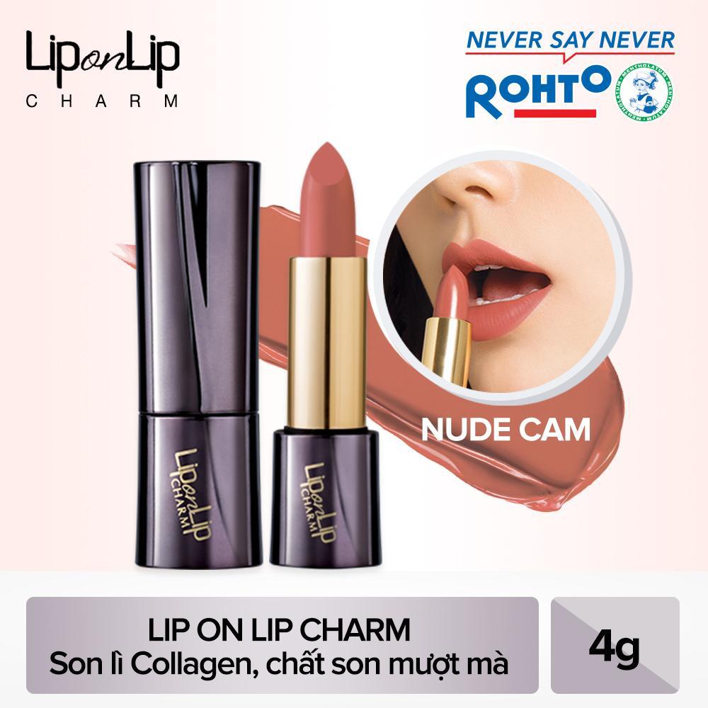 Son lì Collagen siêu mịn Lip On Lip Charm Mysterious Nude 4g (Nude cam) - HSD dưới 1 năm