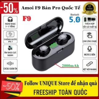 Tai nghe bluetooth Amoi F9 bản Pro quốc tế chip 5.0 Bluetooth Hỗ Trợ Mọi Dòng Máy, Pin Trâu Micro 2 Bên, Chống Nước - Tai Nghe Bluetooth Không Dây Hay Hơn i7s, i11s, i12s UNIQUE Store, Tai Nghe Chống Ồn, Pin Trâu thumbnail
