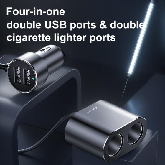 Củ sạc trên oto chia tẩu Baseus High efficiency one tow two cigarette lighter (CRDYQ-01)