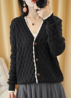Áo len mỏng cadigan dáng ngắn nữ phong cách Hàn Quốc freesize dưới 61kg thumbnail