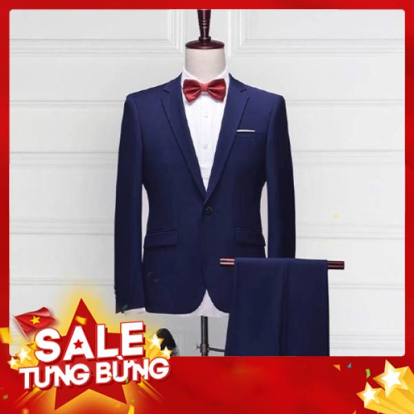Bộ vest nam màu xanh than giá rẻ full size[ Áo vest  + Quần]