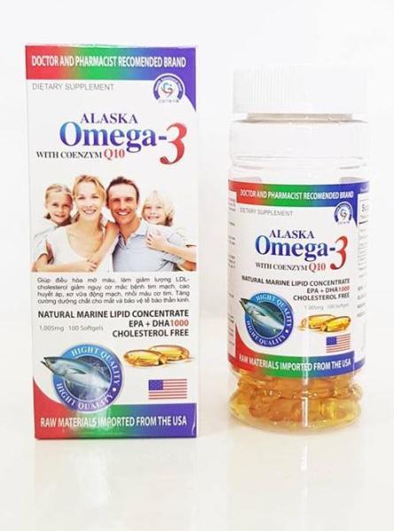 Dầu Cá Alaska Omega 3 With Coenzym Q10 (hộp 100 viên) sáng mắt, khỏe tim , bổ não