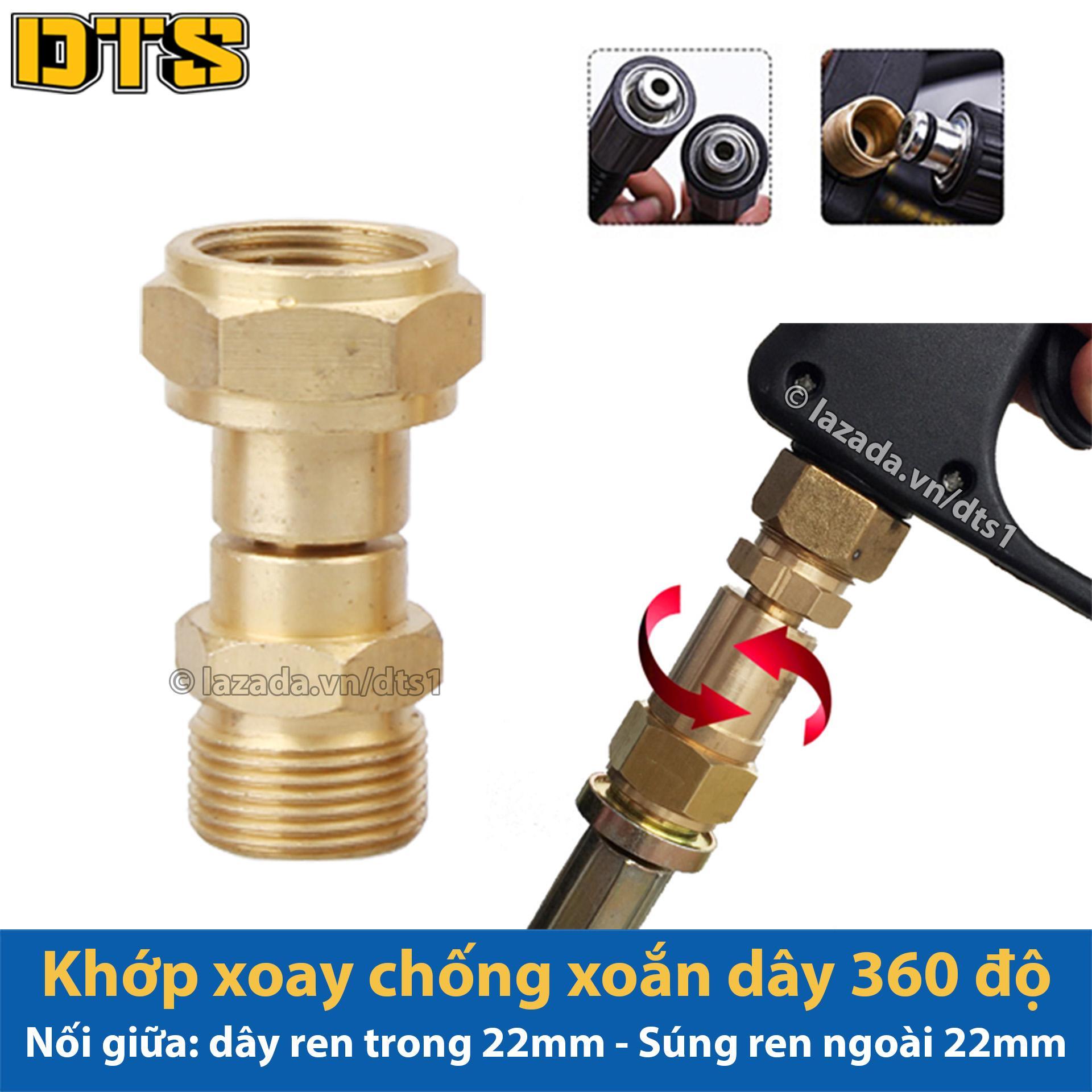Khớp xoay chống xoắn dây phun xịt của máy rửa xe áp lực cao, máy xịt rửa cao áp - Lắp vào s.úng có ren ngoài 22mm